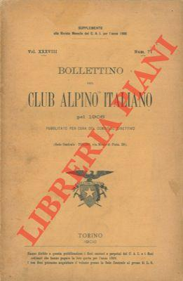 Bollettino del Club Alpino Italiano. Anno 1906. Vol. XXXVIII. n° 71.