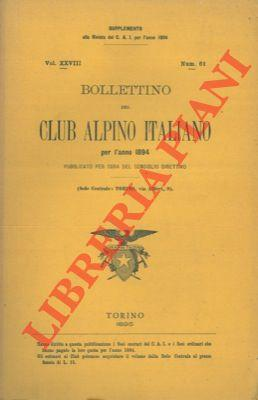 Bollettino del Club Alpino Italiano. Anno 1894. Vol. XXVIII. n° 61.