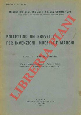 Bollettino dei brevetti per invenzioni, modelli e: Ministero Industria e