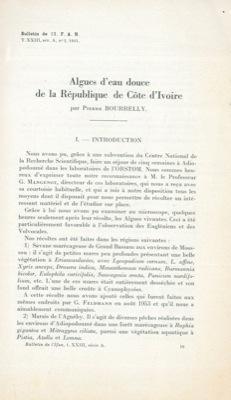 Algues d'eau douce de la République de: BOURRELLY Pierre -
