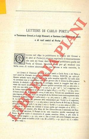 Lettere di Carlo Porta a Tommaso Grossi,: SALVIONI Carlo -
