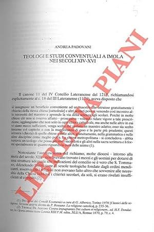 Teologi e studi conventuali a Imola nei: PADOVANI Andrea -