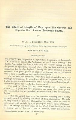 The effect of length of day upon the growth and reproduction of some economic plants.