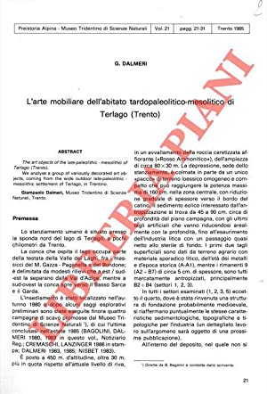 L'arte mobiliare dell'abitato tardo paleolitico-mesolitico di Terlago: DALMERI G. -