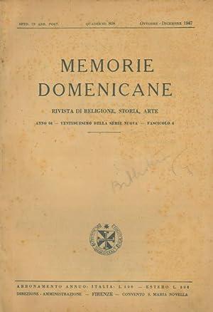 Memorie domenicane. Rivista di religione, storia, arte.