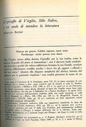 L'epitaffio di Virgilio, Silio Italico, e un: BETTINI Maurizio -