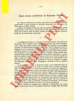 Sopra alcune architetture di Bernardo Vittone. La: OLIVERO Eugenio -