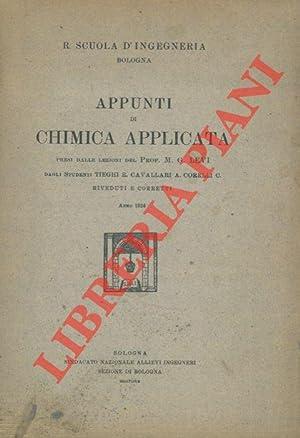 Appunti di chimica applicata presi dalle lezioni