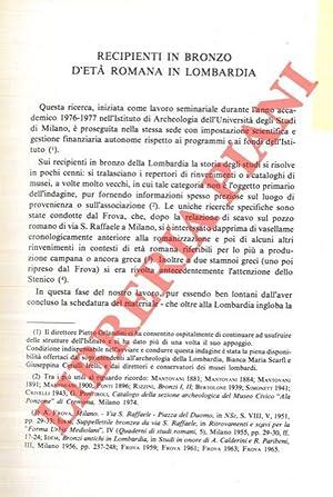 Recipienti in bronzo d'età romana in Lombardia.: MASSARI Graziella -