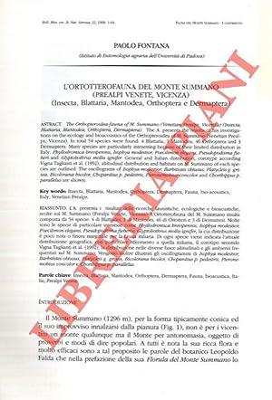 L'Ortotterofauna del Monte Summano (Prealpi Venete, Vicenza): FONTANA Paolo -