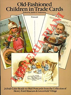 Old-fashioned children in trade cards.
