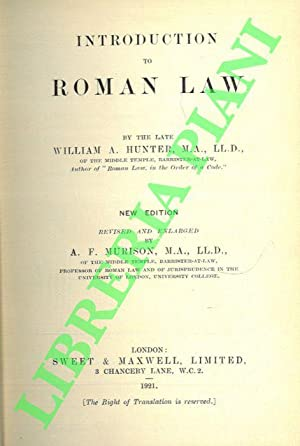 Introduction to Roman Law. New edition recised and enlarged by A.F. Murison, M.A. .
