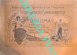 Società Ginnastica Sampierdarenese. Diploma di Benemerenza.: Federazione Ginnastica Italiana