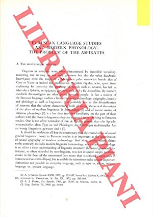 Etruscan Language Studies and Modern Phonology: the Problem of the Aspirates.