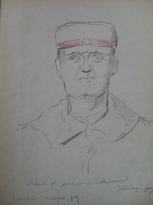 """ÉTUDES DE BOCHES - VERDUN 1917. 16 dessins de Marcel Louveau-Rouveyre [16 """"Étude de prisonnier ..."""