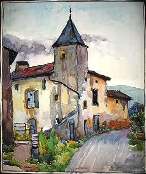 Aquarelle - SAINT-HAON-LE-LE CHÂTEL.: Saint-Haon-le-Châtel / DÉRIEU (Paul-Jean-Noël)(1904-1957).