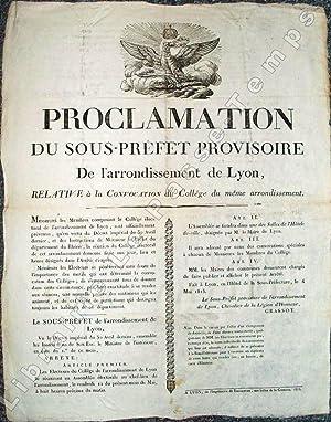PROCLAMATION DU SOUS-PRÉFET PROVISOIRE De l'arrondissement de Lyon, Relative à ...