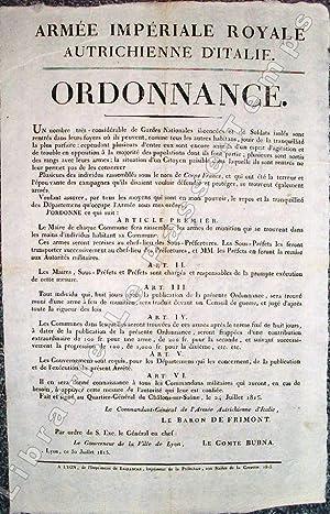 ARMÉE IMPÉRIALE ROYALE AUTRICHIENNE D'ITALIE - ORDONNANCE. Un nombre trè...