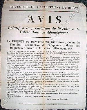 Préfecture du Département du Rhône. AVIS Relatif à la prohibition de la ...