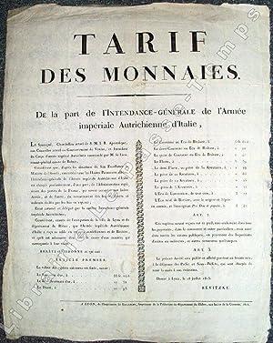 TARIF DES MONNAIES. De la part de l'Intendance-Générale de l'Armée ...