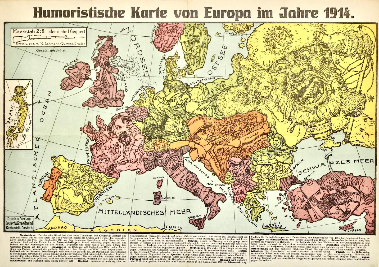 Karte Von Europa.Humoristische Karte Von Europa Im Jahre 1914