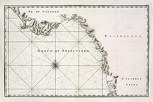 Carta nautica del golfo di Policastro.: RIZZI ZANNONI GIOVANNI ANTONIO.