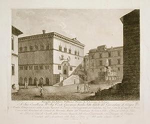 Prospetto del Palazzo Pubblico, e Piazza di S. Lorenzo in Perugia.: CARATTOLI e FREZZOLINI.
