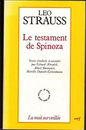 Le testament de Spinoza.: STRAUSS, Léo