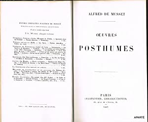 OEUVRES POSTHUMES.: MUSSET (Alfred de)