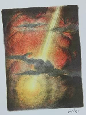 Lithographie originale couleurs imprimée en Palestine. And God made the greater light