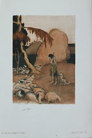 Lithographie originale couleurs imprimée en Palestine.And Abel was a keeper of sheep