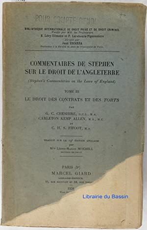 Commentaires de Stephen sur le droit de l'Angleterre (Stephen's Commentaries on the Laws of Engla...