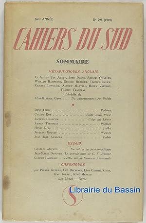 Cahiers du sud n°293 Métaphysiques anglais: Collectif