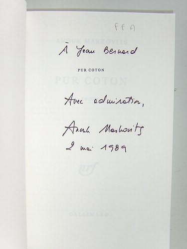 Pur Coton. [ Livre dédicacé par l'auteur ]: MARKOVITS, Anouk