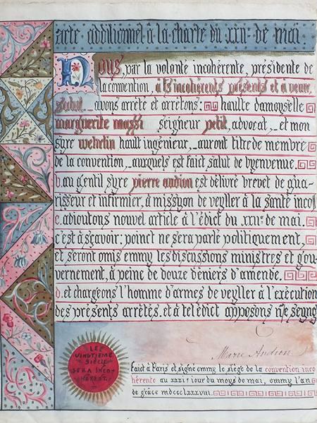 Statuts calligraphiés sur parchemin enluminé, fondant la Convention Incohé...