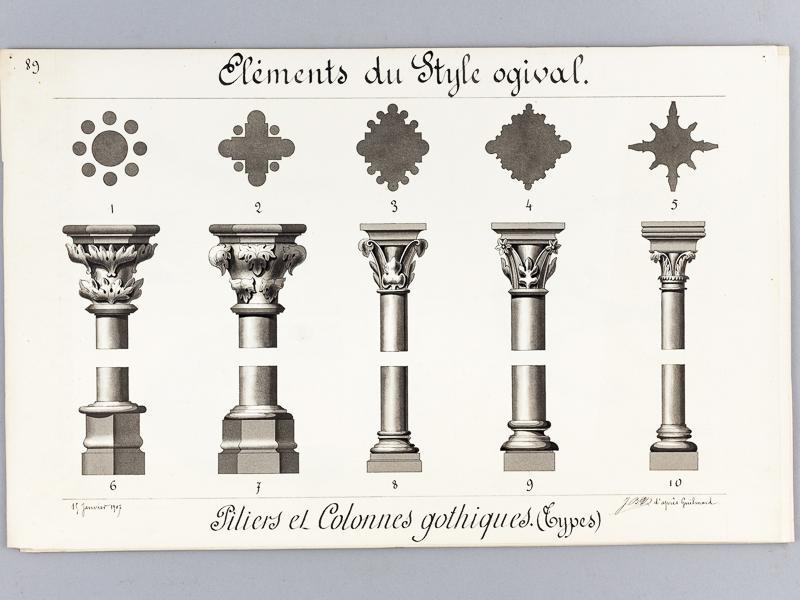 Architecture gothique lot de 10 beaux lavis originaux for L architecture gothique