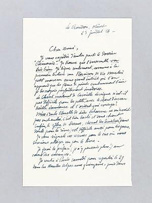 Lettre autographe signée datée du 23 juillet 1954 [adressée à l'&...