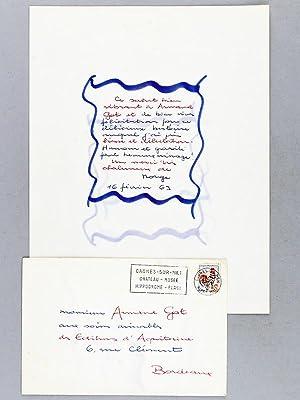 """Belle Lettre autographe signée de l'écrivain Géo Norge : """"Ce salut ..."""