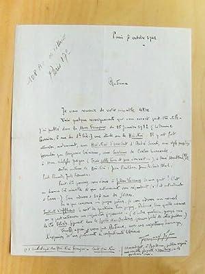 """Belle lettre autographe signée de Fernand Lot : """"Autres auteurs de haï-kaï : ..."""