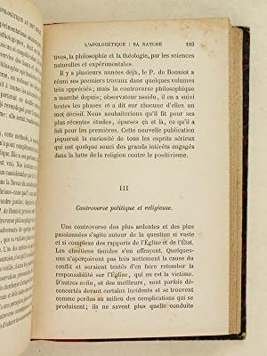 La Chaire et l'Apologétique au dix-neuvième siècle. Etudes critiques et ...