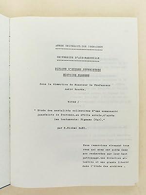 """Diplôme d'Etudes Supérieures Histoire moderne : """"Etude des mentalités..."""