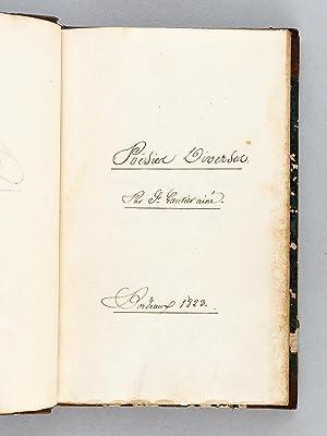 Poésies diverses [ Manuscrit original - A Bordeaux, 1823 ]: GAUTIER AINE, Fr.
