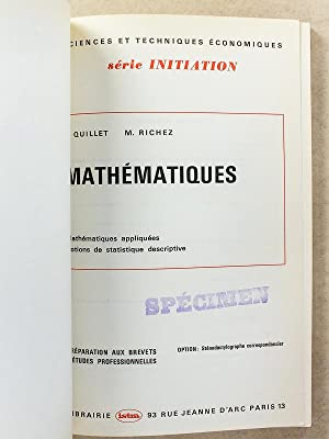 Mathématiques - Option : Sténodactylographe correspondancier: QUILLET, E. ; RICHEZ, M...
