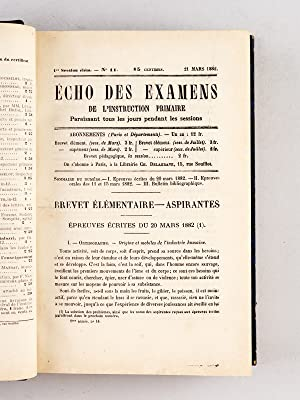 Echo des Examens de l'Instruction Primaire. 1ère Session élémentaire : du...