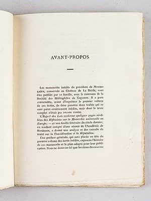 Deux Opuscules de Montesquieu, publiés par le Baron de Montesquieu. Eau-forte de Léo ...