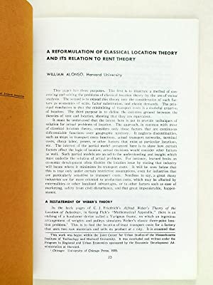 A Reformulation of Classical Location Theory and Its Relation to Rent Theory. Reprint n° 32: ...