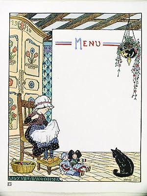 Menu vierge avec Petite Lorraine cousant: HANSI ; [ WALTS, Jean-Jacques ]