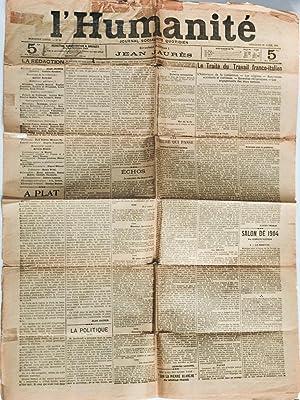 L'Humanité. Journal socialiste quotidien. Première Année. N° 3 : ...