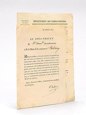 Deux documents relatifs à la commune d'Etcharry ] Lettre pré-imprimée dat...
