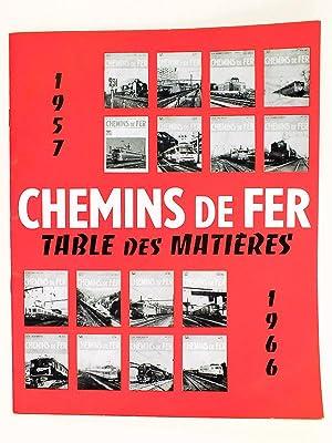 Table des Matières 1937-1956 de la Revue Chemins de Fer. Revue de l'Association Fran&...
